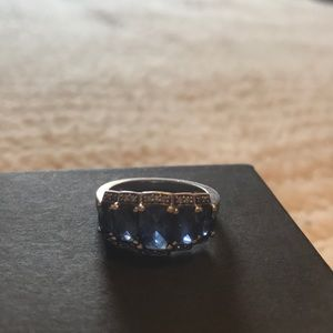 Jewelry - Sterling Silver Sapphire and Diamond Ring